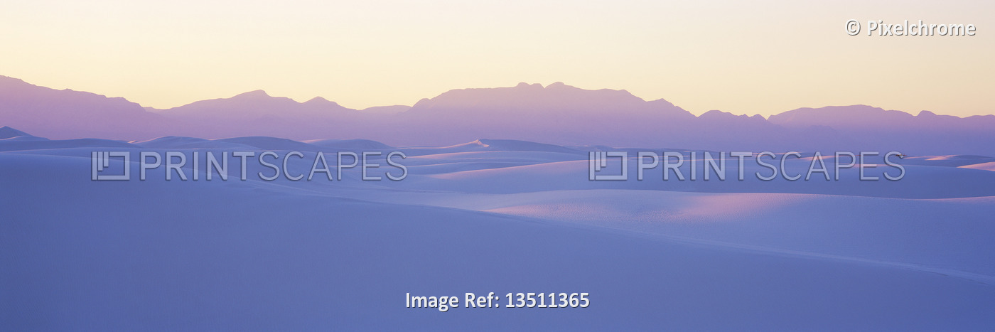 White Sands National Monument At Sunset, White Sands New Mexico, USA